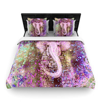 "Marianna Tankelevich ""Pink Dust Magic"" Elephant Sparkle Woven Duvet Cover"