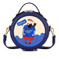 Dark Blue Round Bag