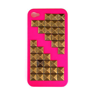Hot Pink Brass Studded Iphone 4 Hard Case