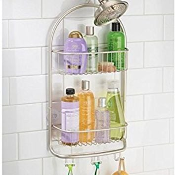 mDesign Bathroom Shower Caddy for Shampoo, Conditioner, Soap - Extra Long, Satin