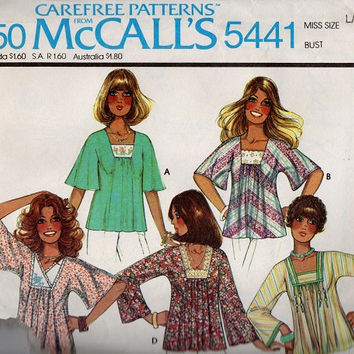 Retro Boho Hippie Style Blouse 70s McCall's Sewing Pattern Pullover Top Embroidery Transfer Square Neck Butterfly Sleeves Uncut FF Bust 40