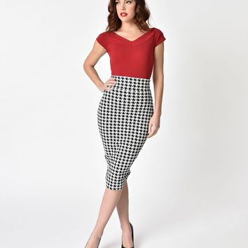 Unique Vintage 1950s Black & White Houndstooth High Waist Katharine Wiggle Skirt