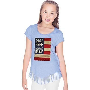 Buy Cool Shirts Girls USA T-shirt Home of the Brave Fringe Tee