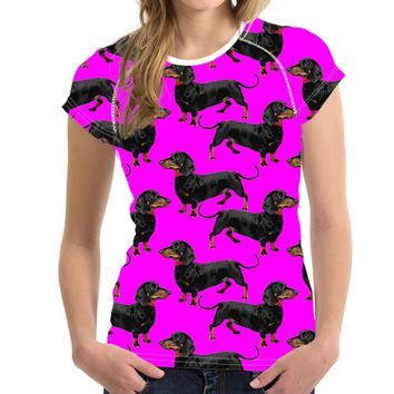 Dog Dachshund All Over Print T-Shirts - Women's Top Tee