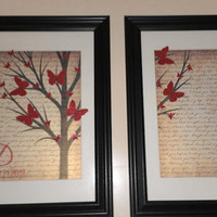 Personalized Christmas Gift Framed Wedding Song first dance lyric gift for couples.   Set of 2 framed lyric tree pictures vows