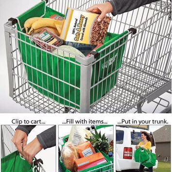 Reusable Folding Shopping cart  trolley Grocery Bag Clip To Cart Tote