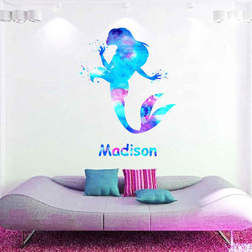 kcik1965 Full Color Wall decal Watercolor Character Disney The Little Mermaid Princess Ariel Sticker Disney Girl name Child's name