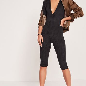 Missguided - Faux Suede Short Sleeve 3/4 Leg Jumpsuit Black