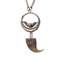 Owl, Moon & Claw Necklace