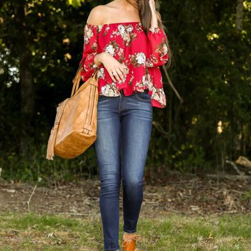 Love Always Red Print Off The Shoulder Top