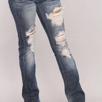 Dark Blue Denim Distressed Flared Jeans