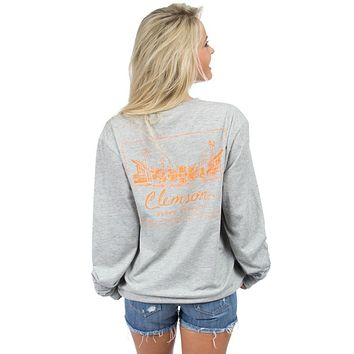 Clemson University Long Sleeve Stadium Tee in Heather Grey by Lauren James