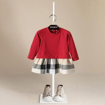 Autumn Dress Baby Girls O-Neck Cotton Kids Dress Long Sleeve Casual Loose Hoodies Dress For Age 1-6Years Old