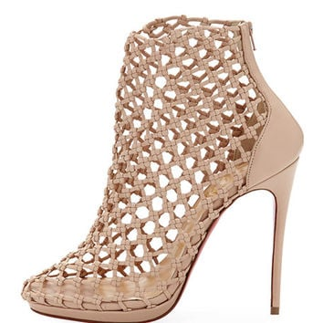 Christian Louboutin Porligat Caged Red Sole Bootie