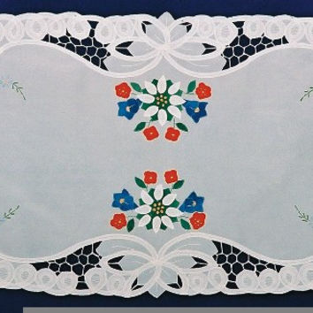 "Lace Applique Linens German Edelweiss Table Runner 18""x45"""