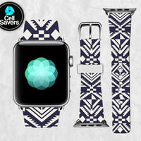 Navy White Tribal Pattern Shape Nautical Pattern Tumblr Apple Watch Band Leather Strap iWatch for 42mm and 38mm Size Metal Clasp Watch Print
