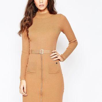 Michelle Keegan Loves Lipsy Knitted Dress With Zip And Belt Detail