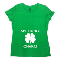 St Patricks Day Pregnancy Shirt Pregnancy Announcement T Shirt New Baby Gifts For Expecting Mothers TShirt My Lucky Charm Ladies Tee - SA737