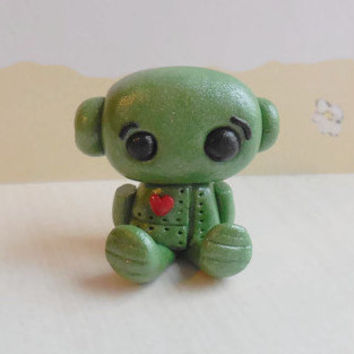 Miniature polymer clay robot sculpture, green robot figurine, small robot figure, steampunk robot collectible, mini robot sculpture.