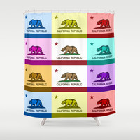 California Republic Flag Colorful Design Shower Curtain by NorCal