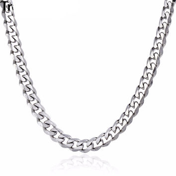 Silver Curb Cuban Link Chain - Available in Various Sizes