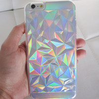 US seller iPhone 6s Plus case clear holographic geometric crystal iridescent