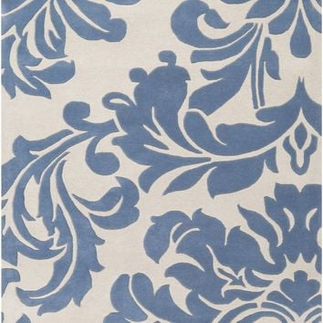 Athena Medallion and Damasks Area Rug Blue, Gray