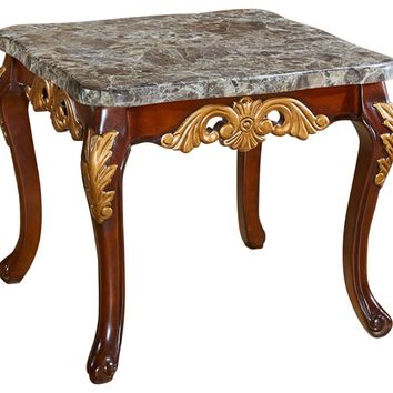 Camelia End Table Genuine Marble Top