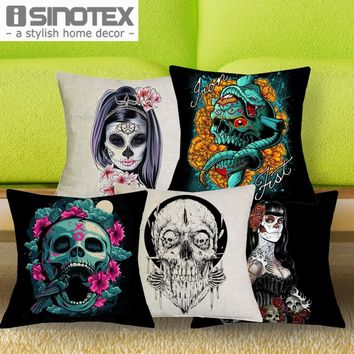 1 Pcs 43*43cm Gothic Style Skull Cushions Linen Cushion Cover Dark Horror Undead Throw Pillow For Living Room Bed Room