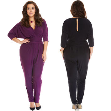 Newest Women Sexy Deep V Neck Jumpsuits Fashion Plus Size Loose Long Jumpsuits Ladies Long Sleeve Rompers Jumpsuits L-3XL
