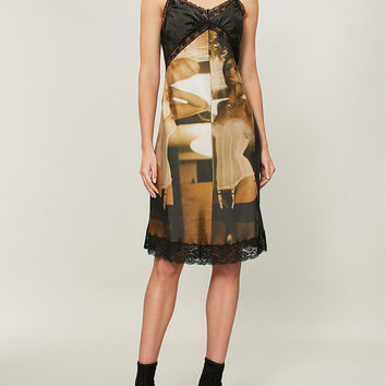 MOSCHINO Photography-print satin camisole dress