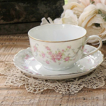 On Sale Vintage Hutschenreuther Richelieu Footed Tea Cup and Saucer Set, Cottage Style, Tea Party, Wedding, Bridesmaid Gift, Bavarian China