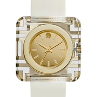 Women's Tory Burch 'Izzie' Square Leather Strap Watch, 36mm - Ivory/ Gold