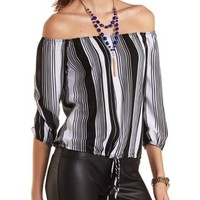 Striped Chiffon Off-the-Shoulder Top by Charlotte Russe