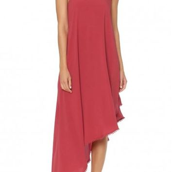 Red One Shoulder Asymmetrical Maxi Cover-Up Dress