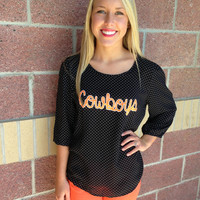 OSU Cowboys polka dot open back blouse