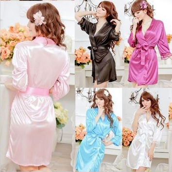 001,Details about Hot Sexy Women Satin Lace Robe Sleepwear Lingerie Nightdress G-string Pajamas = 1931537860
