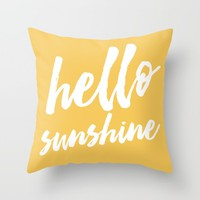 Hello Sunshine - typography Throw Pillow by Allyson Johnson | Society6