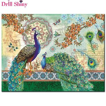 New 5D diy Diamond Painting Green peacock Cross Stitch Full Diamond Embroidery 5d Diamond Mosaic pattern beaded embroidery decor