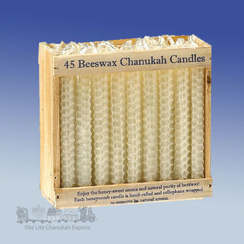 Chanukah Candles, Hand Roll Beeswax, Natural, 45/Wood Crate