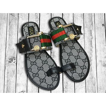 GUCCI Fashion Women Casual Stripe Print Sandal Slippers Shoes Grey