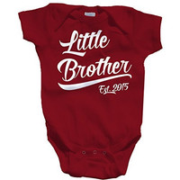 Shirts By Sarah Baby Boy's Little Brother Est. 2015 Onesuit Bodysuit