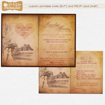 Rustic wedding invitation / Old country style wedding invite + RSVP card / Digital printable vintage wedding invitations