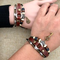Great Deal Awesome Shiny Stylish Gift Hot Sale New Arrival Couple Leather Handcrafts Bracelet [11312699604]