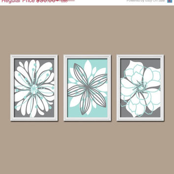 Aqua Gray Bedroom Wall Art Bathroom Wall Art Bedroom Pictures Flower Wall Art Flower Pictures Flower Burst Dahlia Prints Set of 3 Home Decor