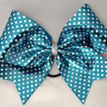 Cheer Bow - Turquoise with Silver Polka Dots