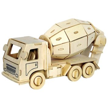 Toys For Children 3D Puzzle Diy Wooden Puzzle Engineering Truck A Kids Toys Also Suitable Adult Game Gifts Of High Quality Wood