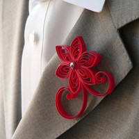Cherry Red Boutonniere, Cherry Red Buttonhole, Poppy Red Wedding Boutonniere, Mens Wedding Boutonnieres