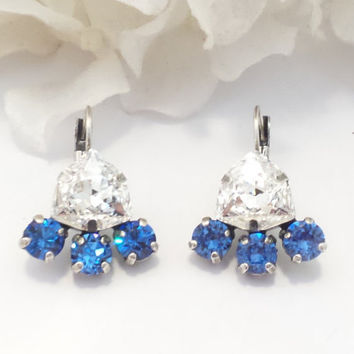 SWAROVSKI CRYSTAL EARRINGS, trillion, sapphire, bridal, designer inspired, fashion forward, unique, stunning