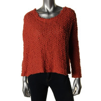 Free People Womens Knit Cropped Pullover Sweater